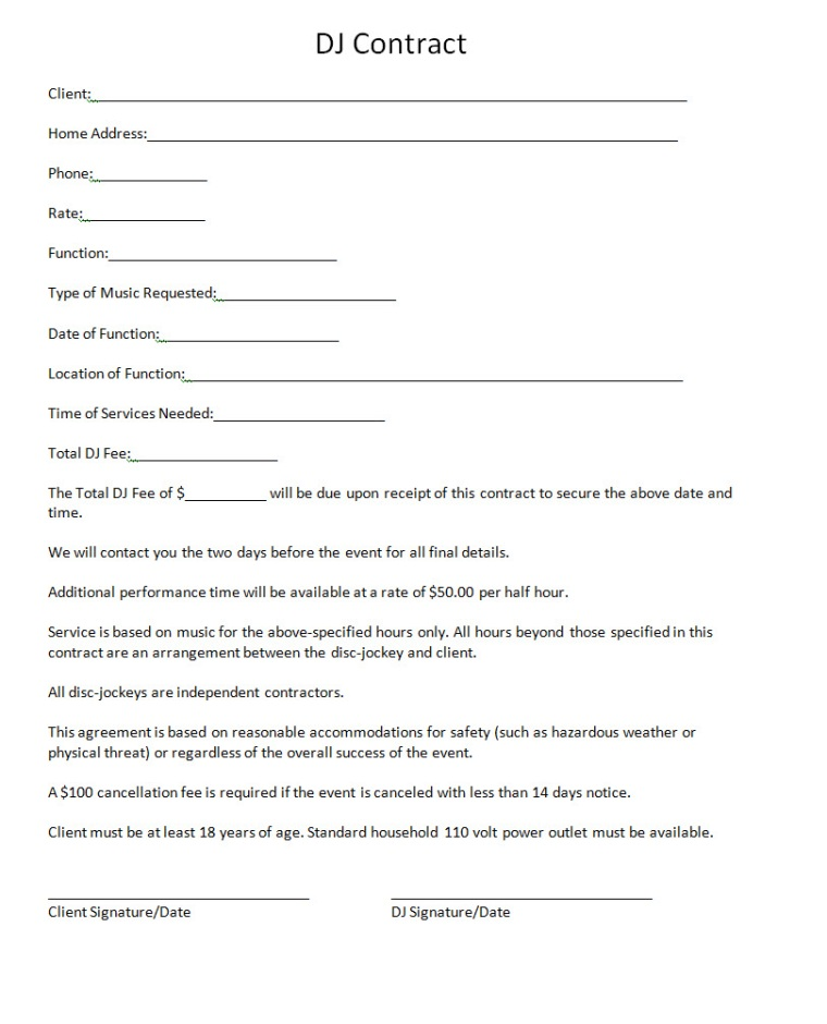 Pricing dj contract for Mobile dj contract template
