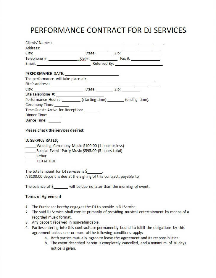 Dj Performance Contract